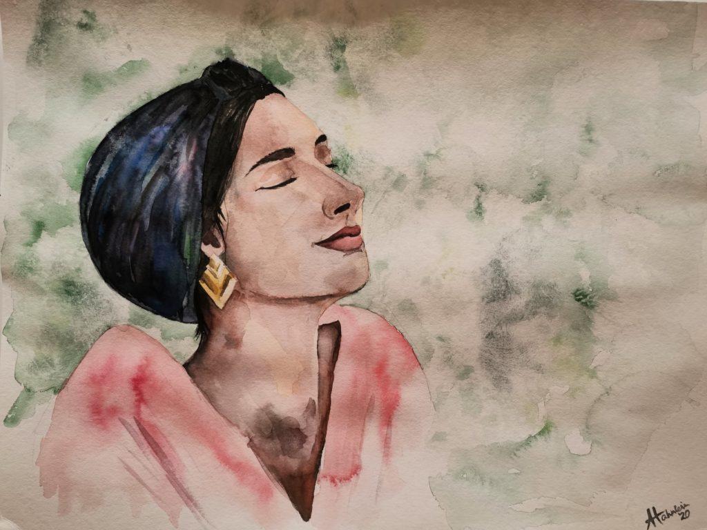 Aquarellportrait, Frau mit Turban und rotem Oberteil, grüner frischer Hintergrund, entspannter und genussvoller Blick